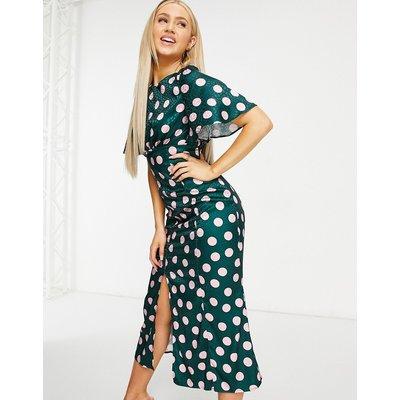 Chi Chi London flutter sleeve midi tea dress in emerald green spot