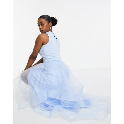 Chi Chi London high low organza dress in blue-Purple