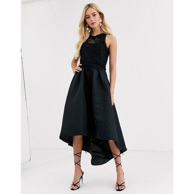 Chi Chi London high low satin dress in black