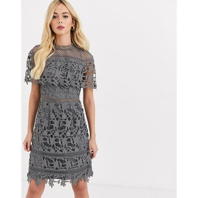 Chi Chi London high neck lace pencil midi dress in charcoal-Grey