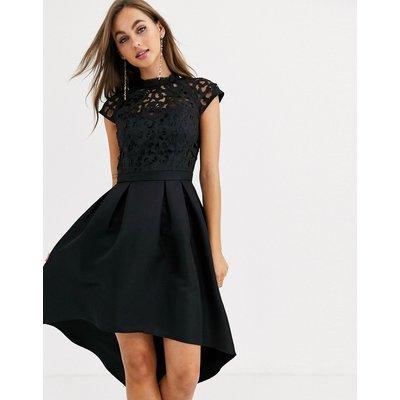 Chi Chi London lace detail midi dress in black