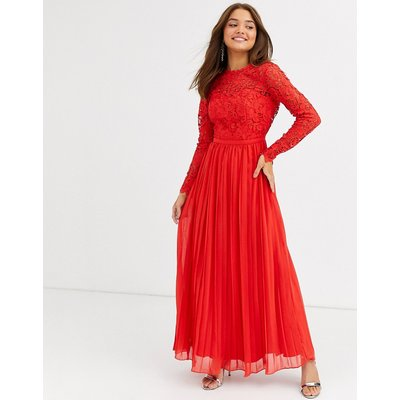 Chi Chi London lace maxi dress with scalloped back in red