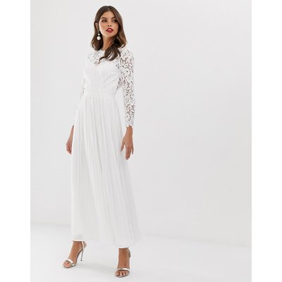 Chi Chi London lace maxi dress with scalloped back in white