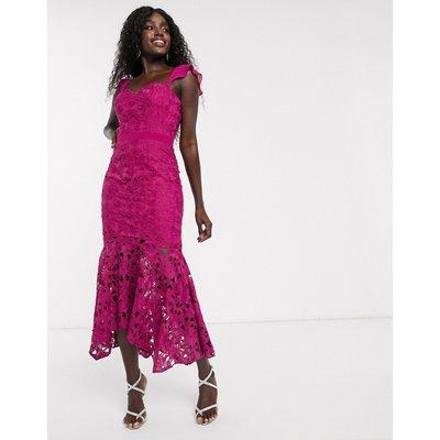 Chi Chi London lace midi fishtail dress in fuchsia-Pink