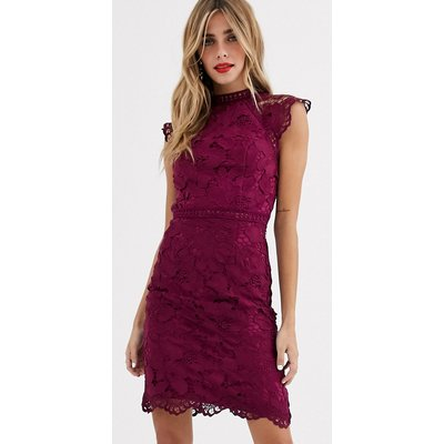 Chi Chi London lace pencil dress in mulberry-Red