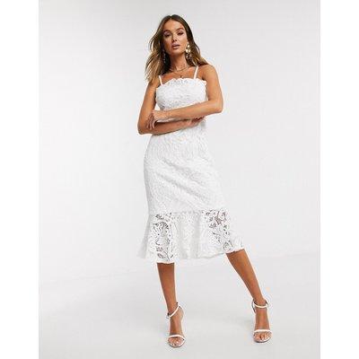 Chi Chi London lace pephem pencil dress in white