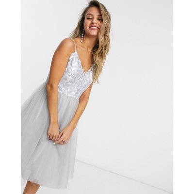 Chi Chi London lace top tulle prom dress in silver grey