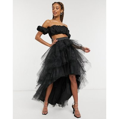 Chi Chi London Mercy high low tiered tulle skirt in black