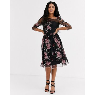 Chi Chi London mesh embroidered midi dress in multi