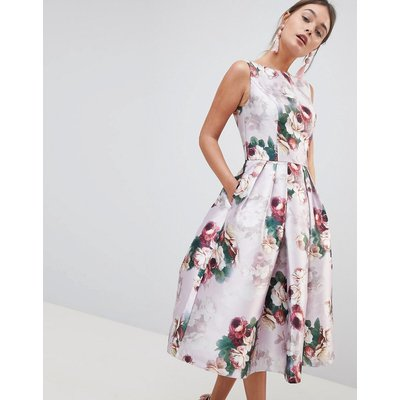 Chi Chi London Midi Dress in Floral Print-Pink