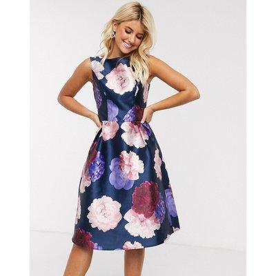 Chi Chi London midi dress in navy based rose print-Pink