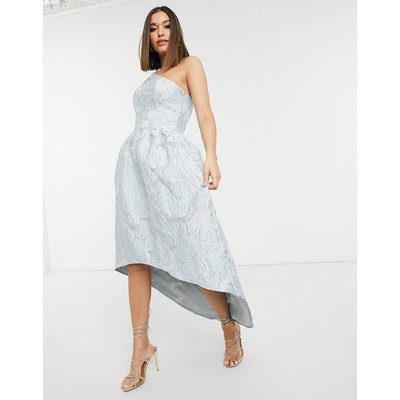 Chi Chi London one shoulder maxi dress in blue jacquard