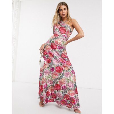 Chi Chi London one shoulder maxi dress in floral-Multi