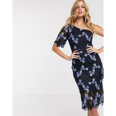 Chi Chi London one shoulder pencil dress in 2 tone lace in navy