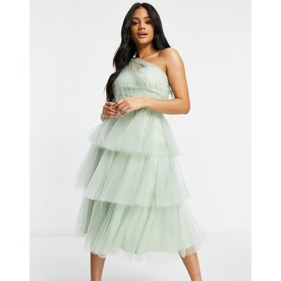 Chi Chi London one shoulder tiered tulle dress in mint-Green