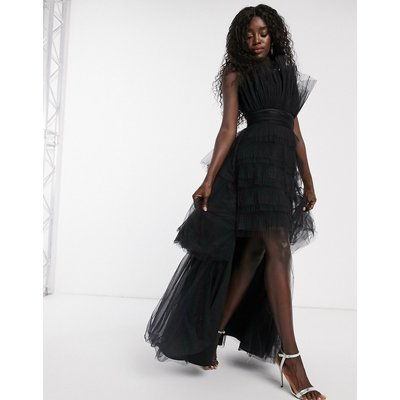 Chi Chi London one shoulder tiered tulle maxi dress in black