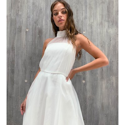 Chi Chi London Petite baby prom dress with sheer detail in white