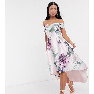 Chi Chi London Petite bardot midi prom dress in floral-Multi