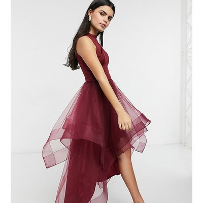 Chi Chi London Petite high low organza prom dress in burgundy-Red