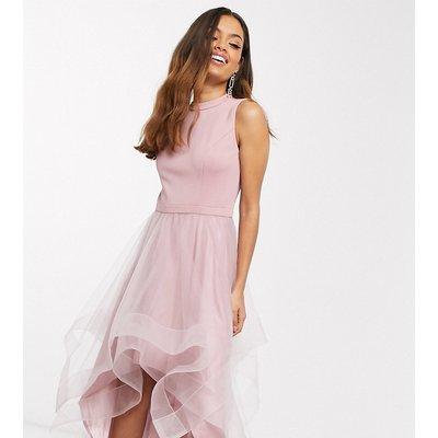 Chi Chi London Petite high low organza prom dress in mink-Multi