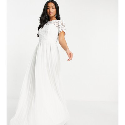 Chi Chi London Petite lace maxi dress with scalloped back in white-Pink