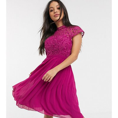 Chi Chi London Petite lace midi dress with pleated skirt in berry-Pink