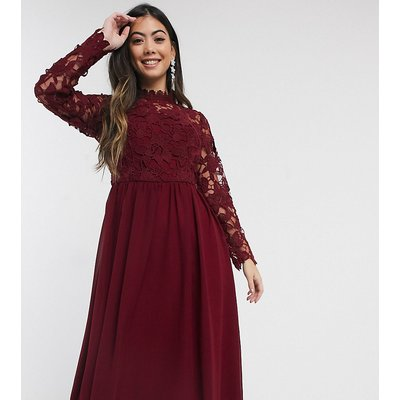 Chi Chi London Petite long sleeve embroidered midi dress in burgundy