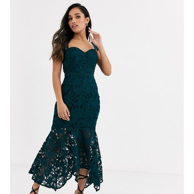 Chi Chi London Petite off shoulder sweetheart lace maxi dress in teal-Blue