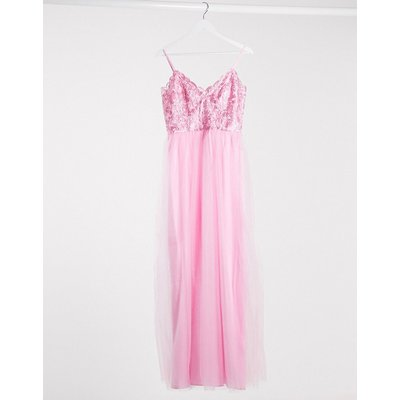 Chi Chi London plunge maxi dress in rose-Pink