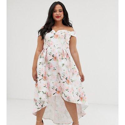 Chi Chi London Plus bardot midi prom dress in floral-Multi