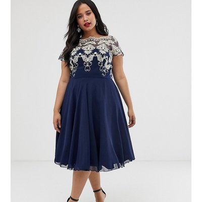 Chi Chi London Plus chiffon midi dress with embroidery in navy