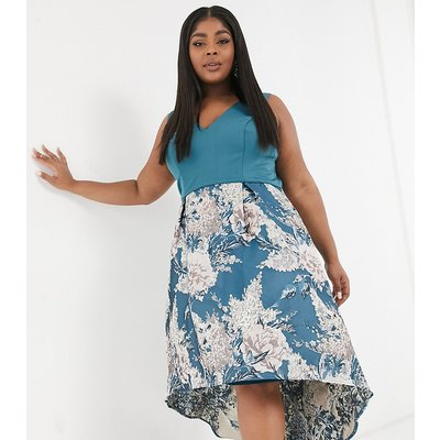 Chi Chi London Plus high low midi prom in teal floral-Green