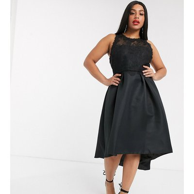 Chi Chi London Plus high low satin dress in black