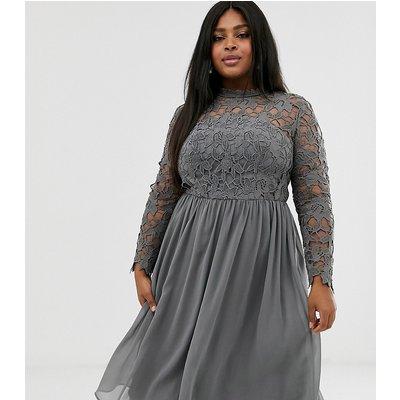 Chi Chi London Plus lace midi dress in charcoal grey