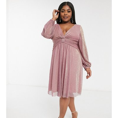 Chi Chi London Plus long sleeve high low dress in mink-Pink
