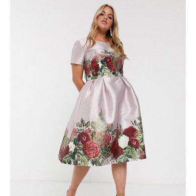 Chi Chi London Plus midi dress in floral border print-Multi