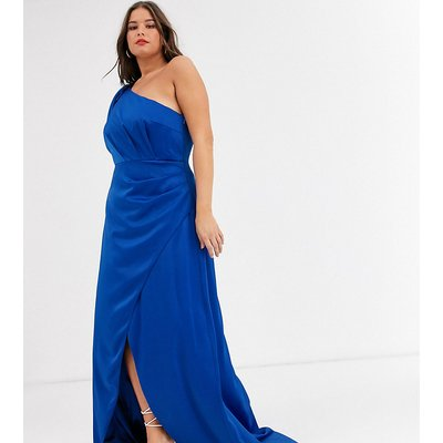 Chi Chi London Plus satin one shoulder statement maxi dress in cobalt-Blue