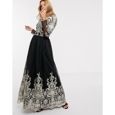 Chi Chi London premium lace maxi dress in black and gold