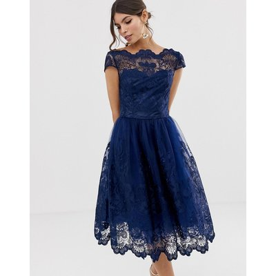 Chi Chi London premium lace midi dress with cap sleeve in navy