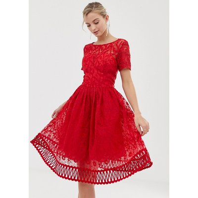 Chi Chi London premium lace prom dress with cutwork hem in red