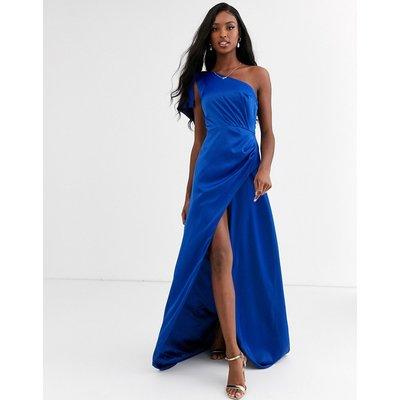 Chi Chi London satin one shoulder statement maxi dress in cobalt-Blue