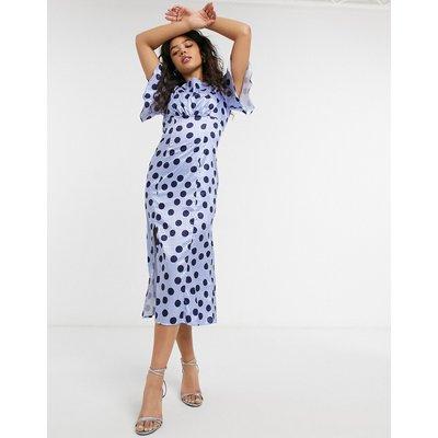 Chi Chi London spot tea dress in spot print-Blue