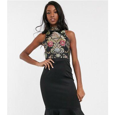 Chi Chi London Tall 2-in-1 jacquard peplum midi dress in multi print-Black
