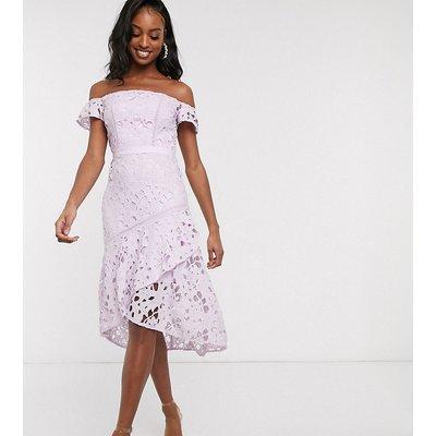 Chi Chi London Tall bardot lace midi dress with flippy hem in lilac-Purple