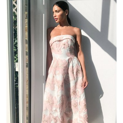Chi Chi London Tall jacquard bandeau maxi dress in pink