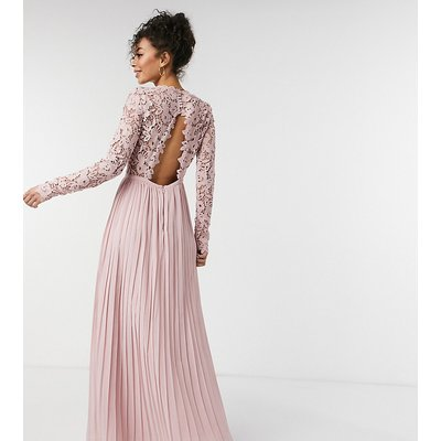 Chi Chi London Tall lace maxi dress with scalloped back in pink