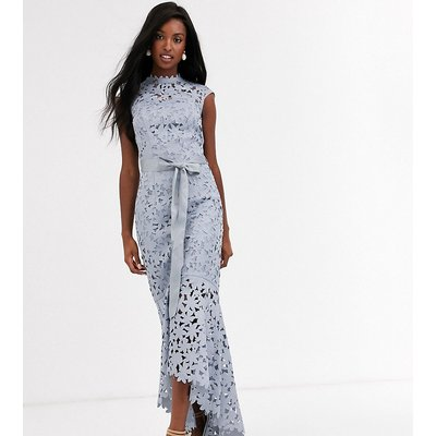 Chi Chi London Tall wrap tie lace maxi dress in grey
