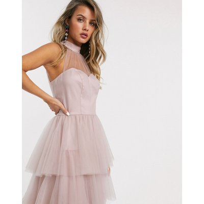Chi Chi London tiered midi prom dress in blush-Pink