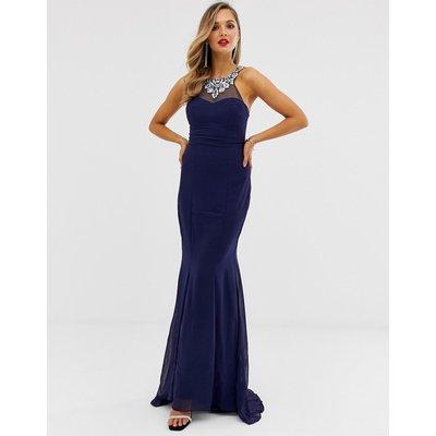 City Goddess embellished chiffon maxi dress-Navy