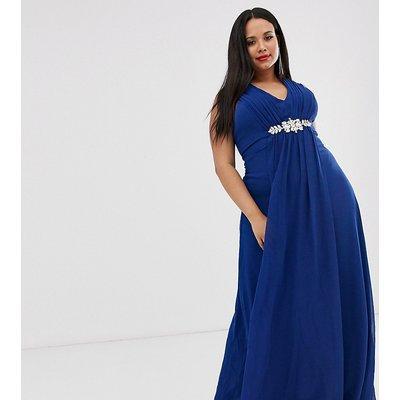 City Goddess Plus v neck embellished chiffon maxi dress-Blue